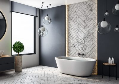Sumpfkalk, Marmor, Putz - Wandgestaltung Bad